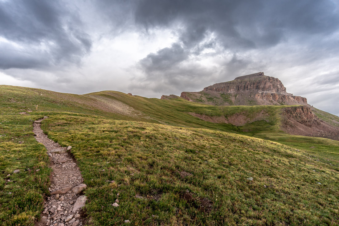 Along the trail to the summit of Uncompahgre Peak (14,321 ft) in Southern Colorado. Copyright Trayson Conner
